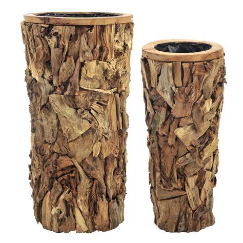 vaso legno vaso cachepot legno naturale grande etnico outlet mobili