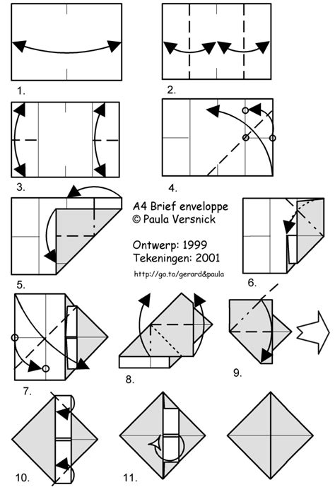 Origami Envelope A4 - orihouse my room my origami designs with diagrams