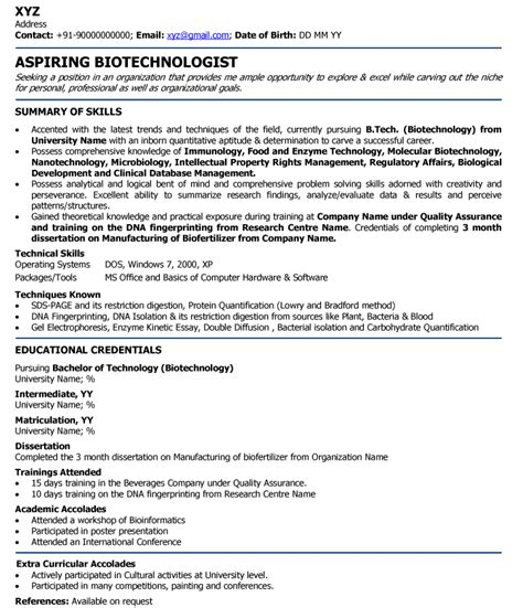 Resume Sles For Freshers Electrical Biotechnologist Professional Resume Sles