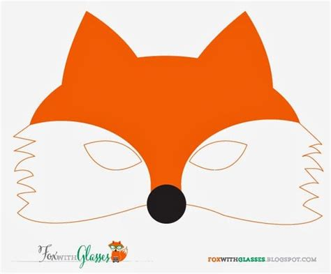 free printable fox mask fox with glasses