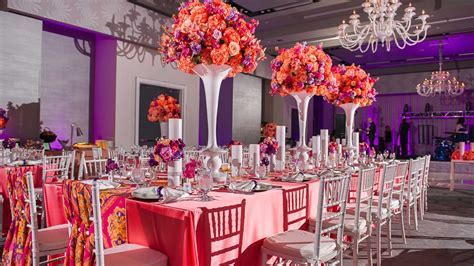 Wedding reception   purple  ?coral   orange   plum