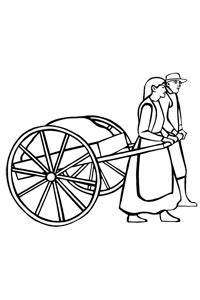 hand cart coloring page coloring pages