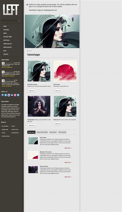 wordpress themes free left menu left wordpress theme freebies fribly
