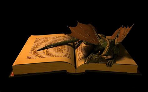 dragons and books and book wallpaper