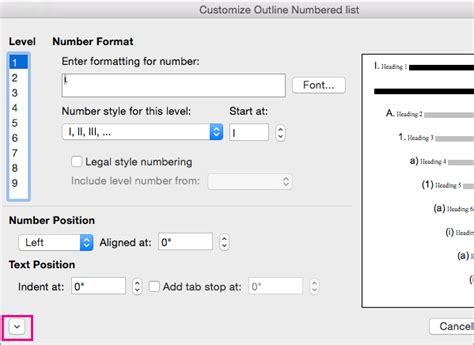 Multi Level Outlines Definition by Add Multilevel Lists Or Create New Ones In Word For Mac Word For Mac