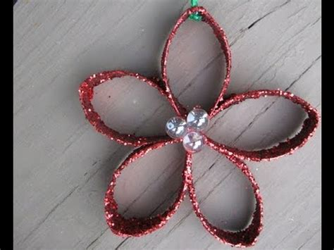 christmas flower ornament out of toilet paper roll youtube