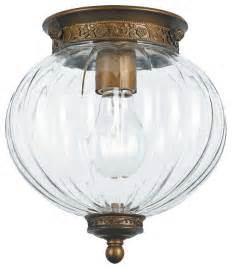 antique brass melon jar glass ceiling light traditional