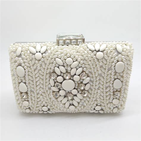handmade white pearl clutch bag bridal wedding