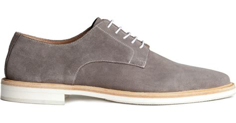 trend classic suede derby grey h m suede derby shoes in gray for lyst