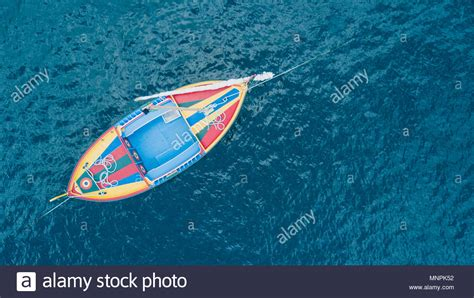fishing boat top view old wooden commercial fishing boat stock photos old