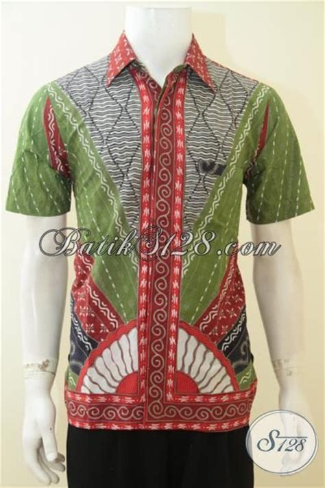 Baju Lelaki Warna Hijau baju batik klasik dengan desain warna yang trendy batik jawa kombinasi warna hijau abu abu dan