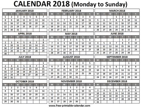Calendar 2018 12 Months Free Printable Calendar 2018 For Free Pocket