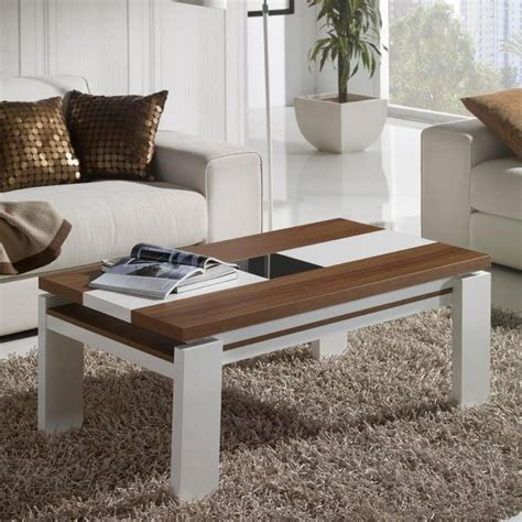 table en bois et banc table basse relevable blanc et bois mobilier