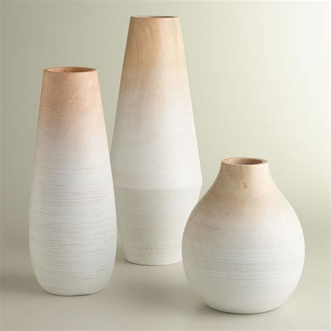 Modern Vases by Medium Oval White Wood Ombr 233 Vase Vases