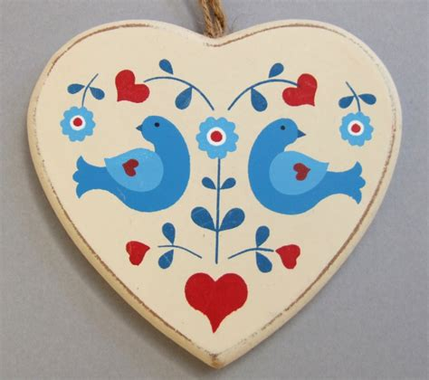 wooden folk art heart hanging christmas decoration love