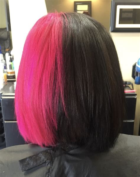 two colored hair two tone half and half black and pink hair mutations in