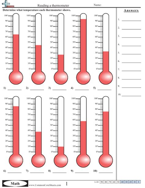 Reading A Thermometer Worksheet temperature worksheets