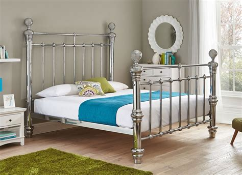 quinn chrome plated metal bed frame super king home