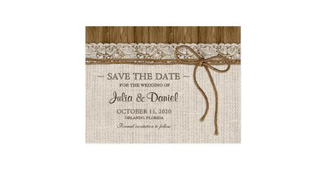 Wedding Save The Date rustic wedding save the date with burlap and lace postcard