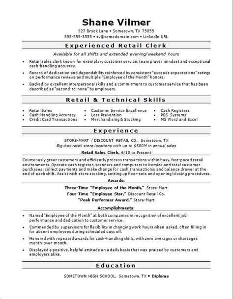 Resume Sle For Retail Clerk Sales Clerk Resume 28 Images Retail Sales Clerk Resume Sle Resumes Design Top 8 Retail