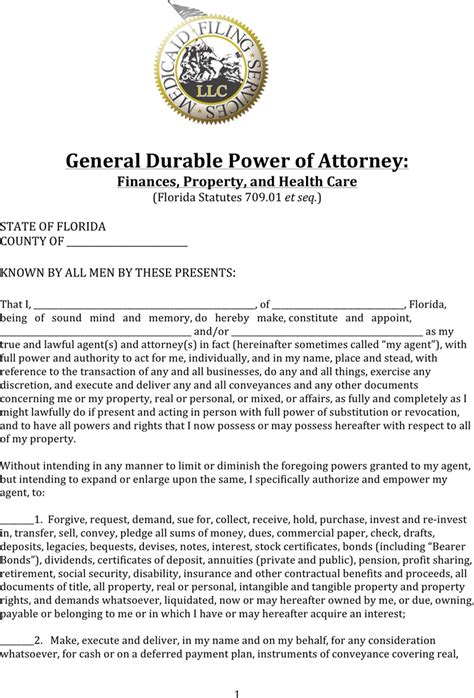 download florida durable power of attorney form for