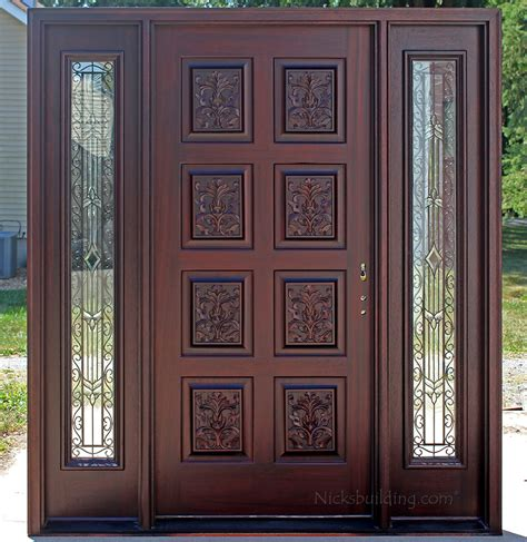 Interior Transom Window Exterior Hand Carved Doors With Wrought Iron Sidelights