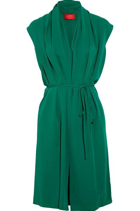 Lanvin Draped Silk Dress In Green Emerald Lyst