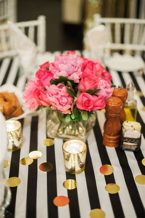 black and white bridal shower centerpiece ideas kate spade bridal shower fancy things
