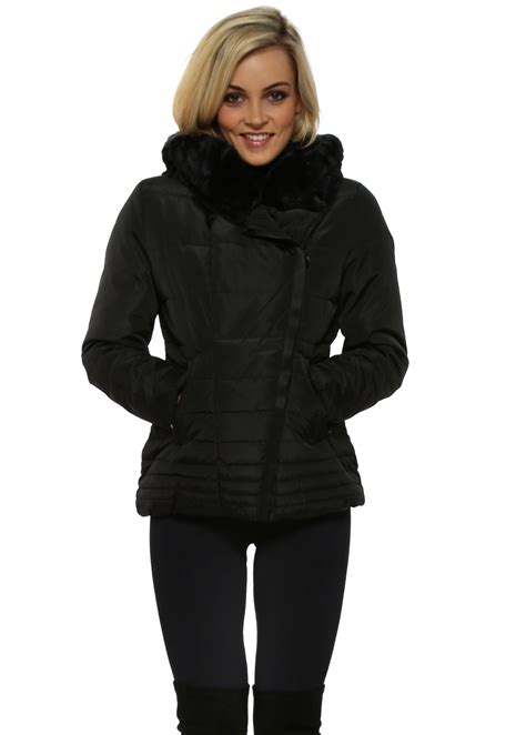 Quilted Fur Jacket by Black Faux Fur Quilted Jacket