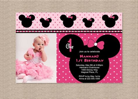 free printable baby minnie mouse 1st birthday invitations free printable minnie mouse 1st birthday invitations