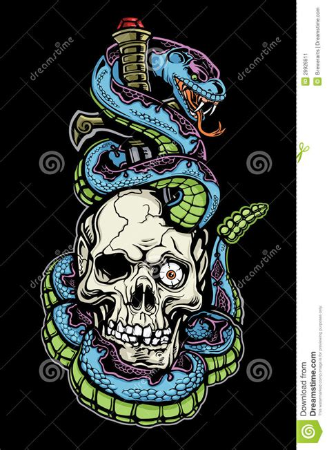 snake skull and dagger tattoo stock vector image 29926911