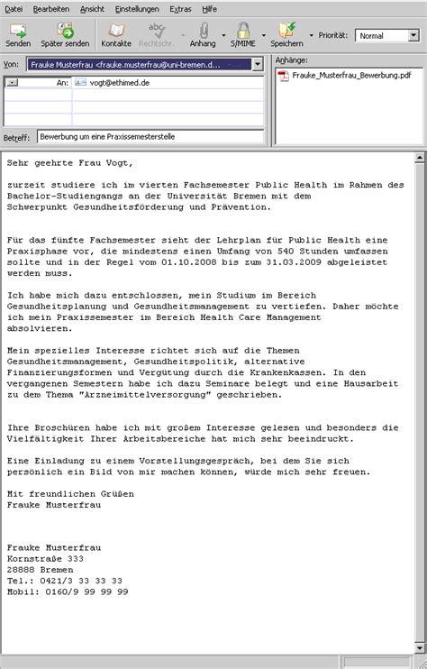 Praktikum Email Muster Universit 228 T Bremen Bewerbung