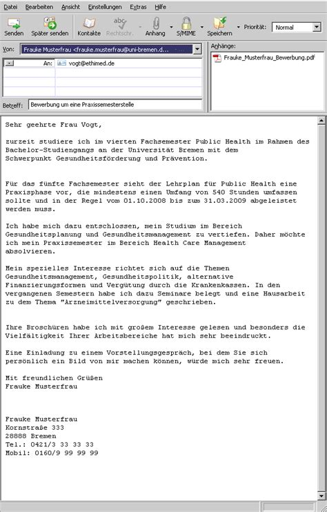 Praktikum Bewerbung Per Email Universit 228 T Bremen Bewerbung