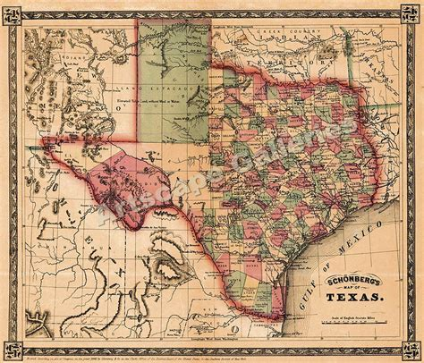 texas maps 1866 sch 246 nberg s map of texas historic map 24x28