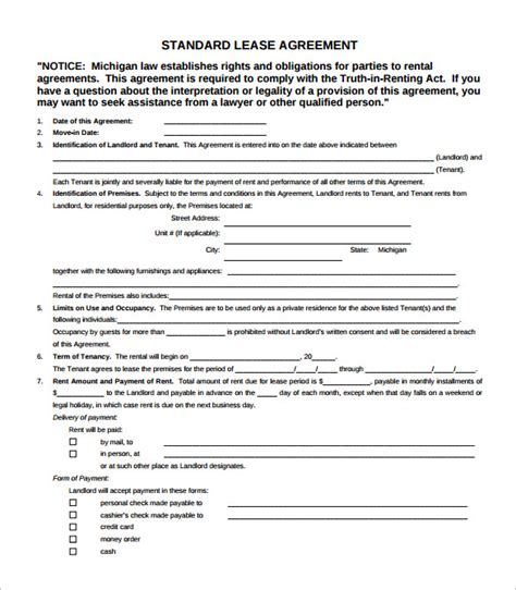 6 Simple Lease Agreement Templates In Pdf To Download Sle Templates Standard Rental Agreement Template