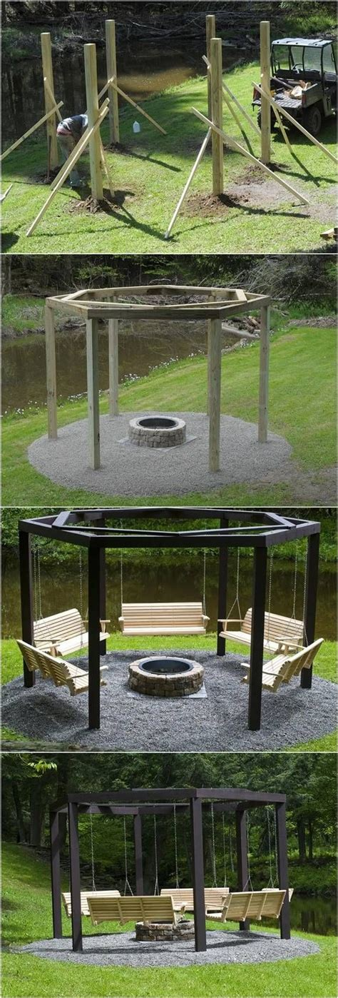 fire pit swing seating diy backyard fire pit with swing seats diyfunidea com