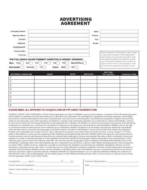 Advertising Contract Form Free Download Advertising Form Template
