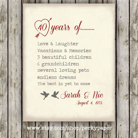 40th wedding anniversary messages for parents 40th ruby anniversary anniversary gift for parents