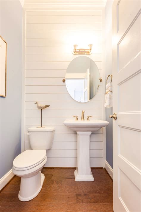 d walls in bathroom coastal powder bathroom with shiplap wall bathroom love