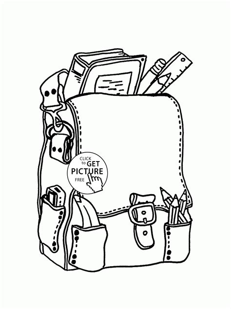 backpack with school supplies coloring page for kids back