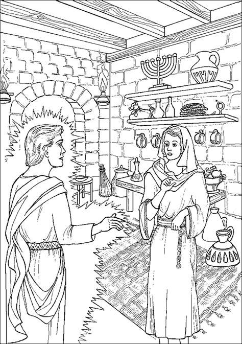 Anuncio del nacimiento de Jesús - Página para colorear