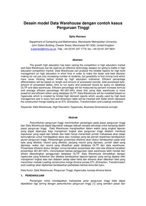 desain database pdf desain model data warehouse dengan contoh pdf download