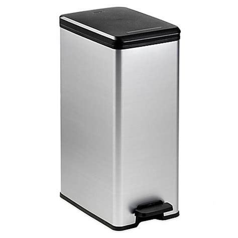 silver bathroom trash can buy curver 40 liter slim metallic trash can in silver from