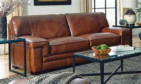 nouveau top grain leather sectional chestnut stede leather sofa haynes furniture