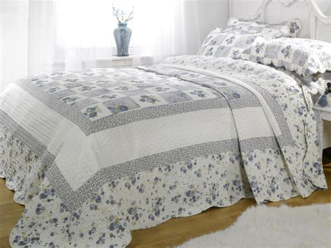 Blue Bedspreads Size Lille Floral Quilted Bedspread 2 Pillow Shams King Size