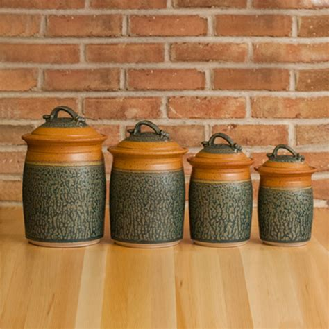 brown kitchen canisters four piece canister set in tan ash glaze royce yoder