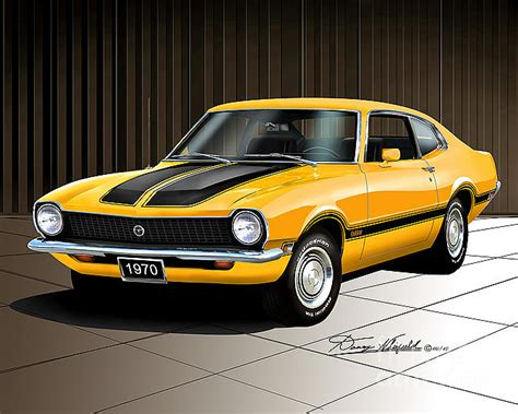 1970 ford maverick grabber grabber orange drawing by danny