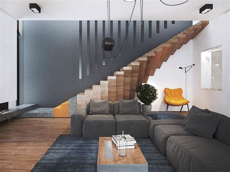 trendy home with unique staircase