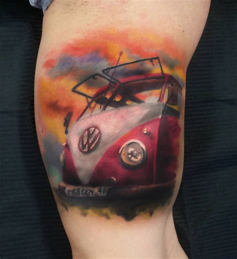 vw camper van on guy s arm best tattoo design ideas