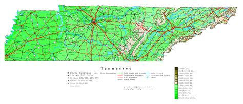 altitude map of usa large detailed elevation map of tennessee state with roads